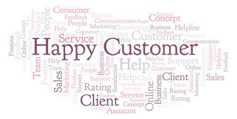 Happy Customer word cloud.