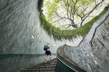 Spiral staircase of underground walkway