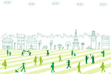 手描き 街並み 人々