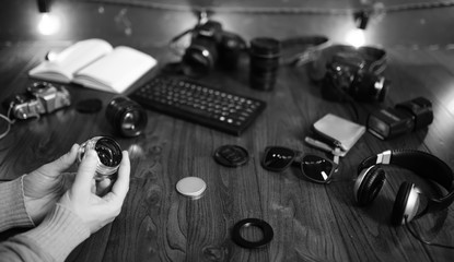 The photographer's desk, digital camera accessories