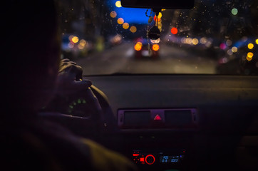 Bokeh lights from traffic on night time for background. Blur image