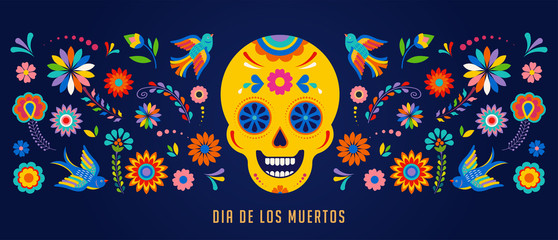 Day of the dead, Dia de los muertos background, banner and greeting card concept with sugar skull. Fototapete