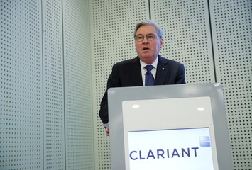 CEO Kottmann of the Swiss specialty-chemical company Clariant addresses a news conference in Zurich