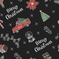 Seamless pattern with  Christmas  elements painted colored chalk on blackboard. Vector.