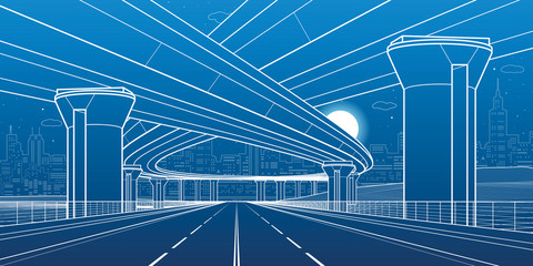 City architecture and infrastructure illustration, automotive overpass, big bridges, urban scene. Night town. White lines on blue background. Vector design art