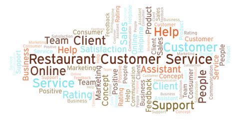 Restaurant Customer Service word cloud.