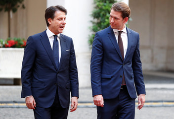 Austrian Chancellor Sebastian Kurz and Italian Prime Minister Giuseppe Conte talk at Chigi palace in Rome