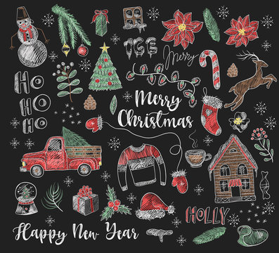 Set of Christmas elements painted colored chalk on blackboard. Vector.
