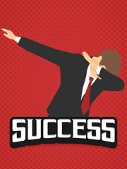 success businessman dab dabbing expression flat vintage retro in red background potrait