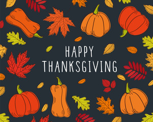 Happy Thanksgiving Day card. Background with autumn leaves and pumpkins. Vector illustration.