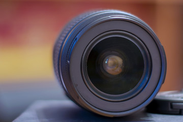 Macro view of professional photograph camera lens