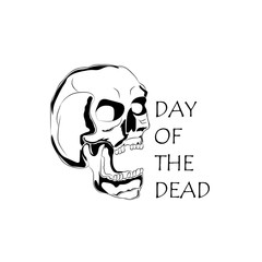 Picture of a black and white skull with the inscription Day of the Dead