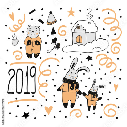 Happy new year 2019 merry christmas set  Handdrawn doodle characters