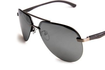 sunglasses aviators dark glass white background, isolate