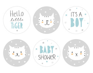 Lovely Baby Shower Round Shape Tag Set. Cute Little White Tigers with Tiny Stars on a Grey Background. Hand Written Text. It's a Boy. Hand Drawn Infantile Design. Candy Bar Toppers.