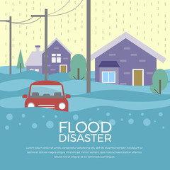 Flood disaster concept with house and car are flood  vector design