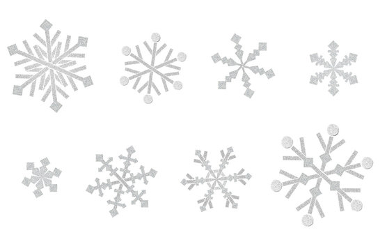 Snowflake pattern paper cut on white background - isolated