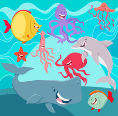 sea life animals cartoon characters underwater