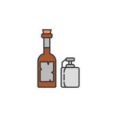 whiskey and jar colored icon. Element of wild west icon for mobile concept and web apps. Cartoon whiskey and jar icon can be used for web and mobile