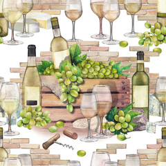 Watercolor box with bottle and grapes with wine glasses in front