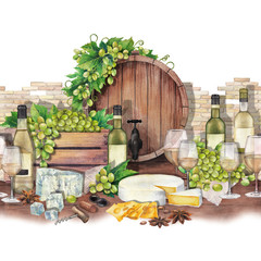 Watercolor barrel, box of grapes, wine glasses and bottles, cheese and star anise