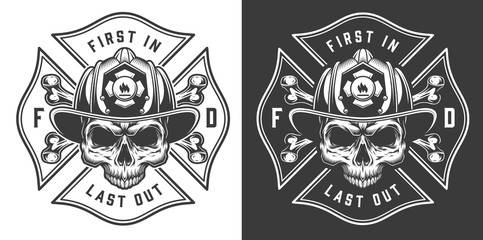 Monochrome firefighting emblems