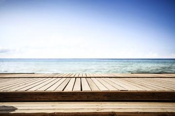 Summer pier and sea landscape