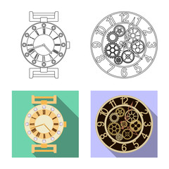Vector design of clock and time symbol. Collection of clock and circle stock symbol for web.