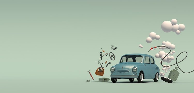 Banner with a passenger blue retro car with a gas bubble, surrounded by flying around auto parts. Isolated on a turquoise background. 3D rendering.