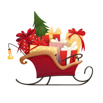 Santa's sleigh with Christmas gifts boxes with bows and Christmas tree. Vector illustration