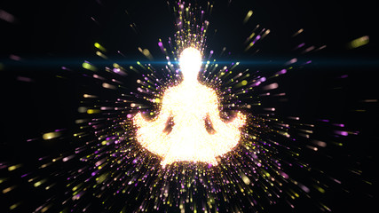 Female figure as silhouette in seated lotus yoga pose with streams of radiating energy