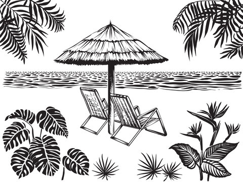 Beach scenery landscape view with tropical leaves. Umbrella and two chairs, vector sketch.