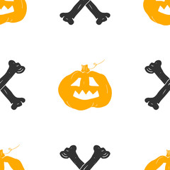 Halloween seamless pattern. Hand drawn sketched background, party invitation or holiday banner design vector illustration