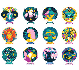 Illustrated zodiac signs icon. Colorful modern horoscope badges.