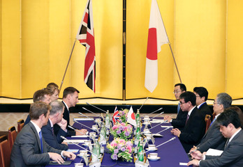 British Foreign Secretary Jeremy Hunt and Japanese Foreign Minister Taro Kono attend their meeting in Tokyo