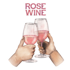 Two watercolor hands holding glasses of rose wine.
