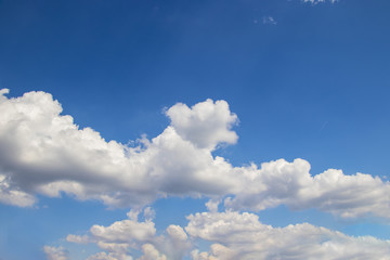 Beautiful blue sky and white clouds. It is sunny day. It is situated in Czech republic.