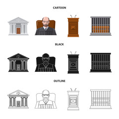 Vector design of law and lawyer logo. Set of law and justice stock symbol for web.