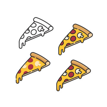 Pizza slices set with melting cheese