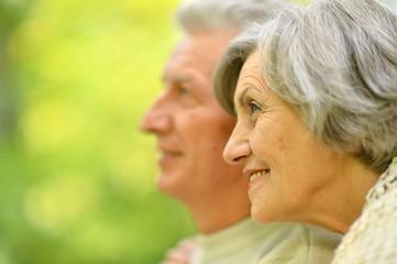 Portrait of elderly couple in summer park