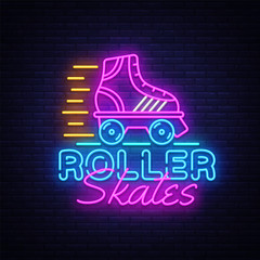Roller Skates Neon Sign Vector. Retro quad roller skates neon logo, design template, modern trend design, night neon signboard, night bright advertising, light banner, light art. Vector illustration