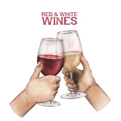 Two watercolor hands holding glasses of red and white wine
