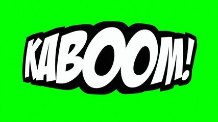 A comic strip speech cartoon with the word Kaboom. White text, black shadow, green background.