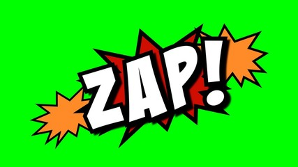 A comic strip speech cartoon with an explosion shape and the word Zap. White text, red and yellow spikes, green background.