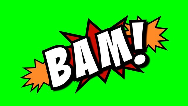 A comic strip speech cartoon with an explosion shape and the word Bam. White text, red and yellow spikes, green background.