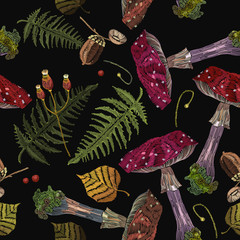 Embroidery mushrooms and acorns, autumn forest seamless pattern, Fashion fall nature embroidery template for clothes, textiles, t-shirt design