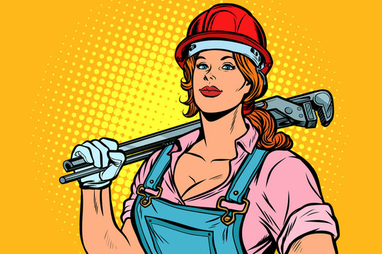 Pop art woman plumber mechanic with wrench