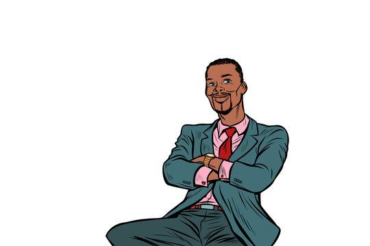 pop art African businessman sitting