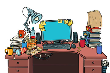 pop art Male workplace Isolate on white background