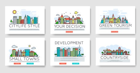 Set of city skylines and suburban different buildings in skyline. Thin line vector illustration design concept.